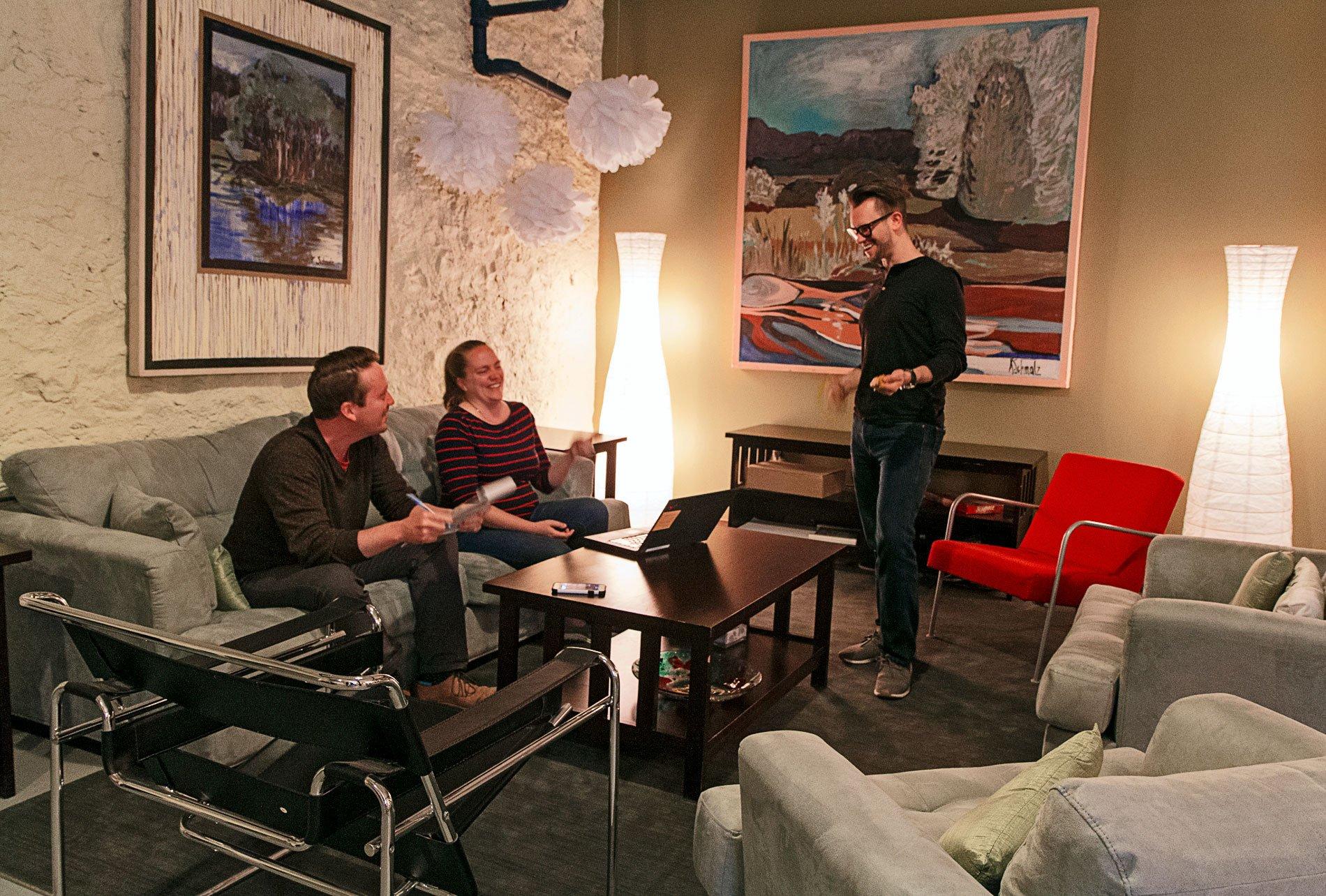 Blue North team discussing fundraising strategies